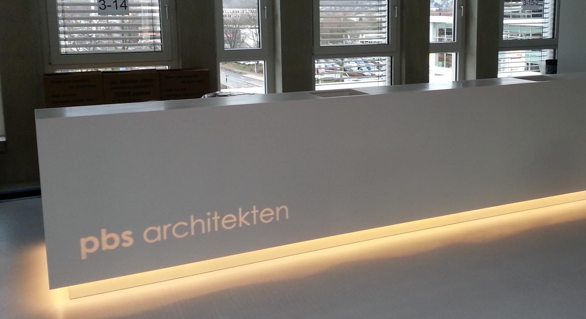 Corian Anmeldung in einem Architekturbüro in Aachen